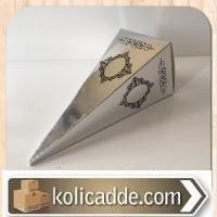 Mevlüt Şekeri Kutusu Gümüş Renk Altın Desenli