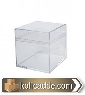 Kare Kapaklı Pleksi Mika Kutu 5x5x5 cm.