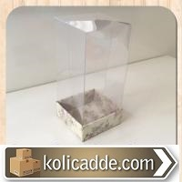 Asetat Kapaklı Çiçekli Kutu 5x5x9 cm.-KoliCadde