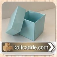 Mavi Kapaklı Karton Kutu 6x6x6 cm