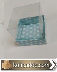Puantiyeli Mavi Kutu Asetat Kapaklı 10x10x12 cm-KoliCadde