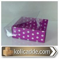 Mor Puanlı Karton Kutu Şeffaf Kapaklı 8x8x3 cm