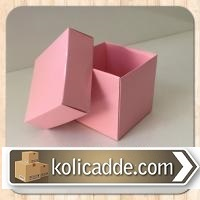 Kapaklı Karton Kutu Pembe 8x8x6,5 cm.