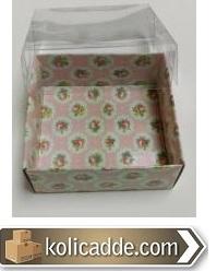 Gül Desenli Pembe Karton Kutu 8x8x3 cm-KoliCadde