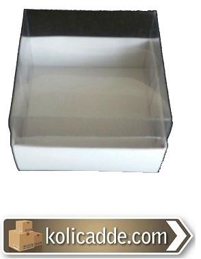 Altı Beyaz Karton Kutu Üstü Asetat 7x7x2,2 cm