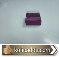 Şeffaf Kapaklı Mor Karton Kutu 5x5x3 cm.
