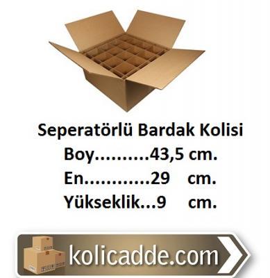 43,5x29x9 cm. Seperatörlü Bardak Kolisi-KoliCadde