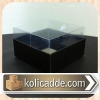 Siyah Renkli Asetat Kapaklı Kutu 8x8x5 cm