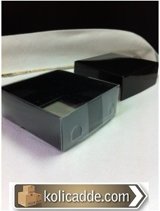 Siyah Karton Kutu Asetat Kapak 8x8x3 cm