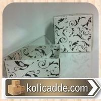 Asetat Kapaklı Siyah Laklı Karton Kutu Asetat Kapak 8x8x3 cm