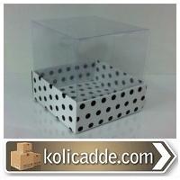 Altı Beyaz Üzerine Siyah Puanlı Karton Asetat Kutu 8x8x8 cm