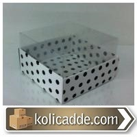 Siyah Puantiyeli Asetatlı Kutu 8x8x5 cm
