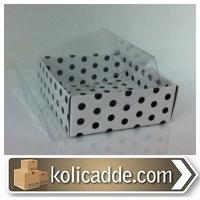 Asetat Kapaklı Siyah Puantiyeli Kutu 8x8x3 cm