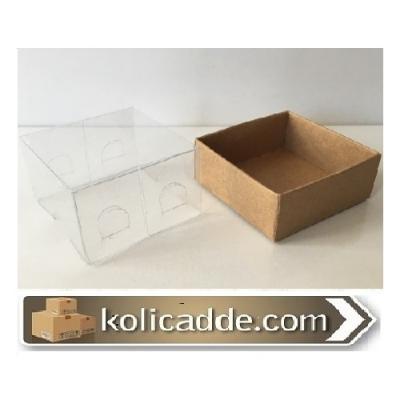 Asetat Kapaklı Kraft Kutu 5x5x3 cm.-KoliCadde