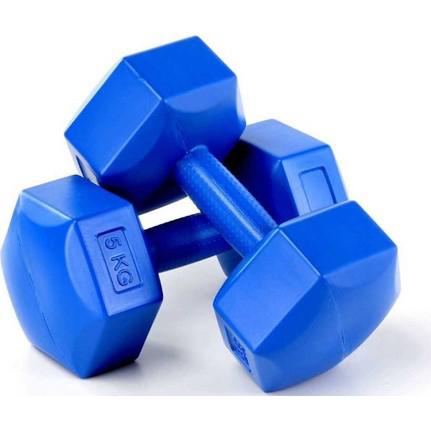 Dambıl 5 Kg x 2 Adet Plastik Dambıl, Dumbell Ağırlık Mavi