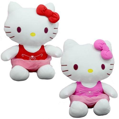 Sunman Peluş Hello Kitty Elbiseli Kurdeleli 50Cm
