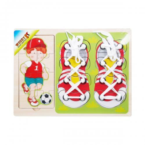 Sunman Woody Ahşap Puzzle Ayakkabı Bağlama 16 Parça