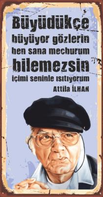 Attila İlhan Ahşap Poster