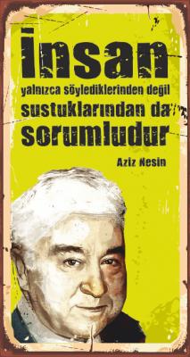 Aziz Nesin Ahşap Poster