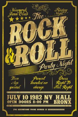 Rock'n Roll Ahşap Poster
