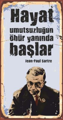 Jean-Paul Sartre Ahşap Poster