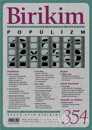 Birikim Aylık Sosyalist Kültür Dergisi Sayı: 354 Ekim 2018