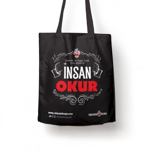 Okuyanboga.com Bez Çanta (İnsan Okur) Siyah - - OKB-Aksesuar