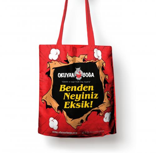 Okuyanboga.com Bez Çanta (Benden Neyiniz Eksik) Kırmızı