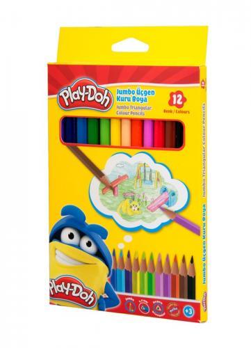 Play-Doh Jumbo Üçgen Kuru Boya 12 Renk KU008