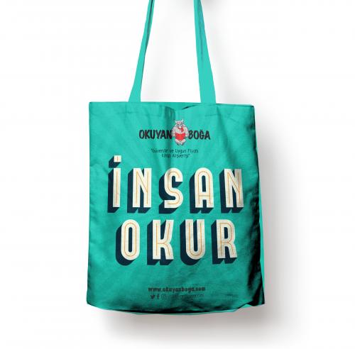 Okuyanboga.com Bez Çanta (İnsan Okur) Yeşil - - OKB-Aksesuar