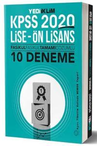 Yediiklim Yayınları 2020 KPSS Lise Ön Lisans Tamamı Çözümlü 10 Fasikül Deneme
