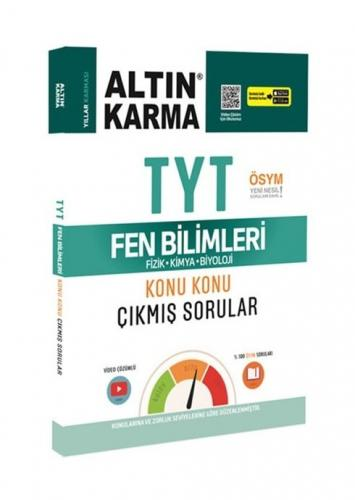 Altın Karma Yayınları TYT Fen Bilimleri Fizik-Kimya-Biyoloji Konu Konu Çıkmış Sorular Video Çözümlü