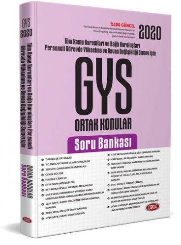 Data Yayınları 2020 Türkiye Kamu Kurumları ve Bağlı Kuruluşları Personeli GYS ve Unvan Değişikliği Ortak Konular Soru Bankası