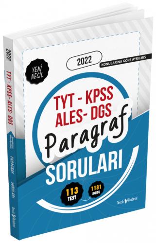 Tercih Akademi 2022 TYT KPSS ALES DGS Paragraf Soruları Soru Bankası K