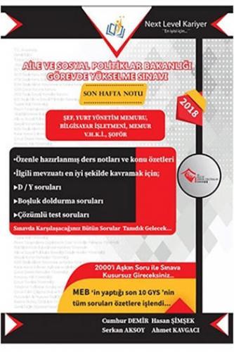 Next Level Kariyer Aile Ve Sosyal Politikalar Bakanlığı Görevde Yükselme Sınavı 1. Kitap