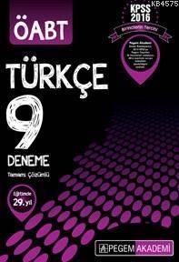 Pegem Yayınları 2016 ÖABT Türkçe Öğretmenliği Tamamı Çözümlü 9 Deneme