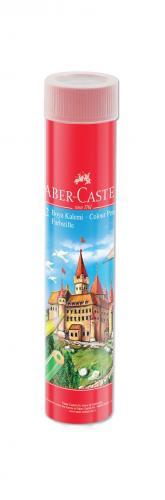 Faber-Castell Kuru Boya Red Line Metal Tüp Kutu Tam Boy 12 Renk Kalemtraş Hediyeli