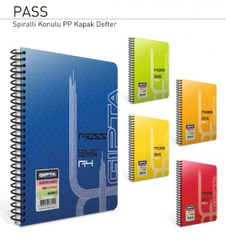 Gıpta PEMBE Spiralli Defter Pass Plastik Kapak Kareli 4 Renk İç Blok 8