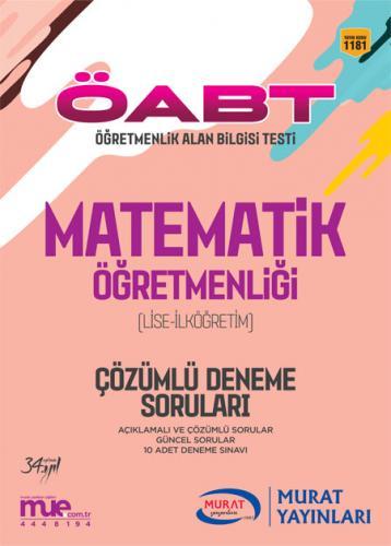 Murat Eğitim KPSS ÖABT Lise - İlköğretim Matematik Öğretmenliği Çözümlü Deneme Soruları
