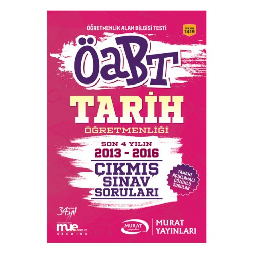 Murat Eğitim KPSS ÖABT Tarih Öğretmenliği Çıkmış Sınav Soruları 2017 - 1419