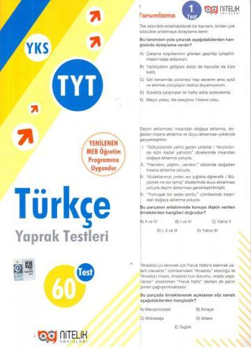 Nitelik TYT Türkçe Yaprak Test