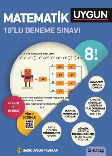 Sadık Uygun Yayınları 8. Sınıf Matematik 10 lu Deneme Sınavı