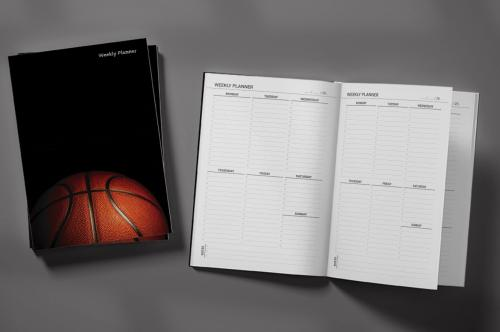 Basketball Ball on Black Background Weekly Planner & Notebook