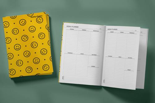 Pattern With a Smiling Face Weekly Planner & Notebook