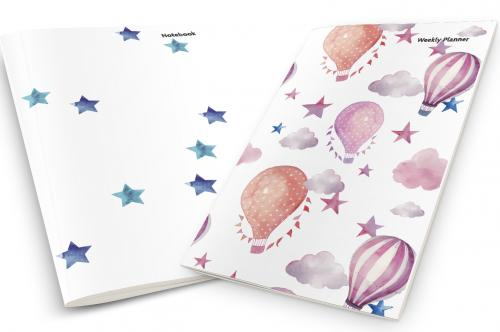 Watercolor Balloons and Stars Weekly Planner & Notebook