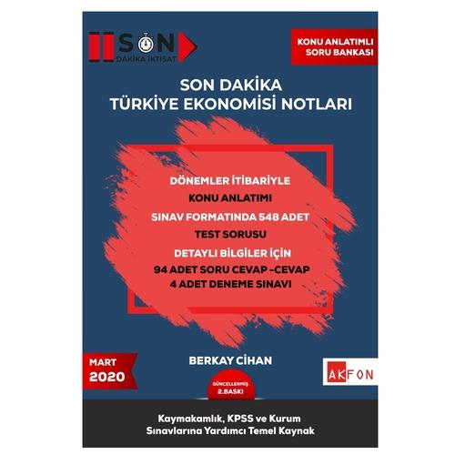 Akfon Yayınları 2021 Kaymakamlık KPSS Son Dakika Türkiye Ekonomisi Not