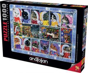 Anatolian 1000 Parça Puzzle Yılbaşı Kedileri